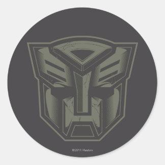 Autobot agrietó símbolo pegatina redonda