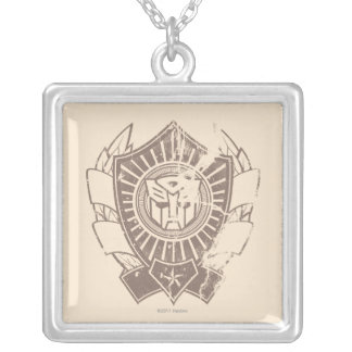 Autobot Distressed Badge Square Pendant Necklace
