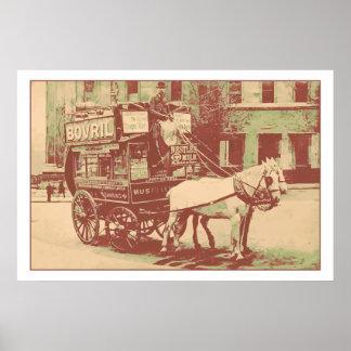 autobús 1890 del caballo de Londres de la acuarela Póster