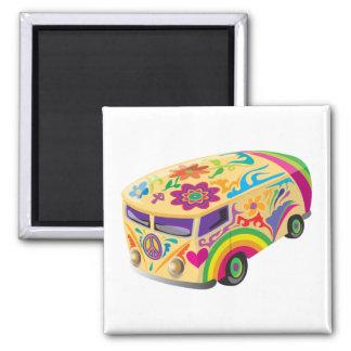 Autobús colorido imán cuadrado