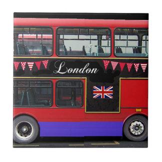 Autobús de dos pisos rojo del autobús de Londres Azulejo Cuadrado Pequeño