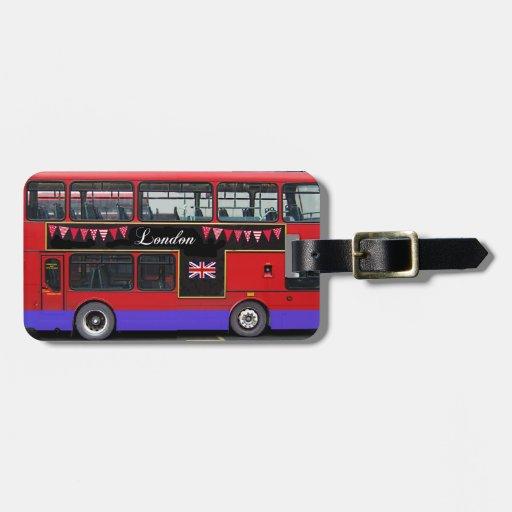 Autobús de dos pisos rojo del autobús de Londres Etiqueta De Equipaje