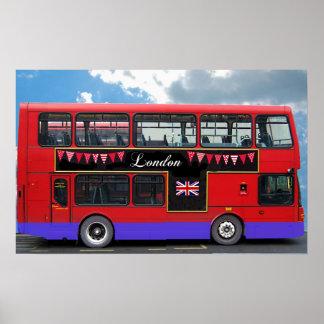 Autobús de dos pisos rojo del autobús de Londres Póster