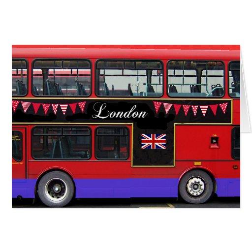 Autobús de dos pisos rojo del autobús de Londres Felicitaciones