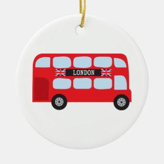 Autobús de dos plantas de Londres Adorno Navideño Redondo De Cerámica
