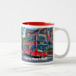 Autobús de dos plantas rojo de Londres - Taza De Dos Tonos