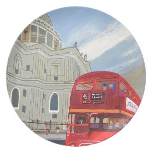 Autobús de la catedral y de Londres de San Pablo Platos
