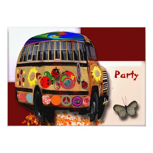 """Autobús de la mariquita invitación 5"""" x 7"""""""