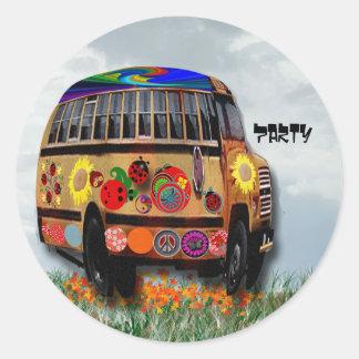 Autobús de la mariquita pegatina redonda