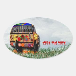 Autobús de la mariquita pegatina ovalada