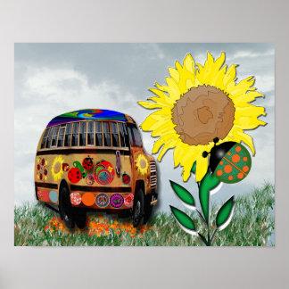 Autobús de la mariquita póster