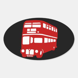 autobús de Londres del inglés Pegatina Ovalada
