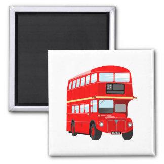 Autobús de Londres Imán Cuadrado