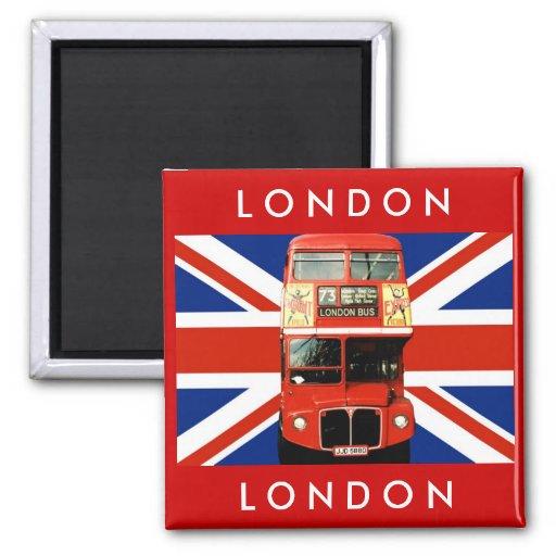 Autobús de Londres y bandera británica Iman De Frigorífico