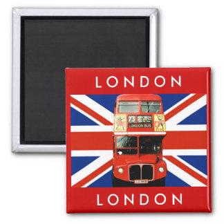 Autobús de Londres y bandera británica Imán Cuadrado