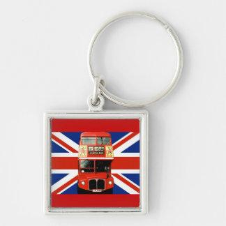 Autobús de Londres y bandera británica Llavero Cuadrado Plateado