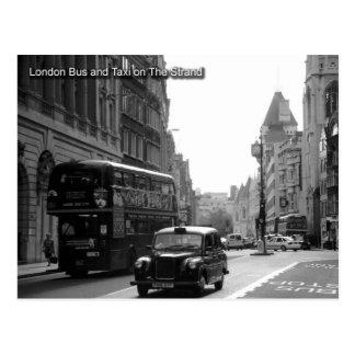 autobús de Londres y postal del taxi
