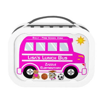 Autobús del almuerzo escolar de las rosas fuertes