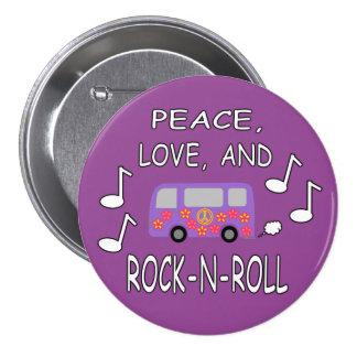 Autobús del amor y del Roca-N-Rollo de la paz Pins