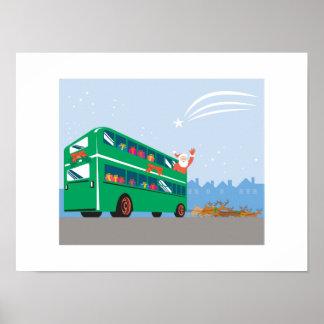 Autobús del autobús de dos pisos de Papá Noel Impresiones