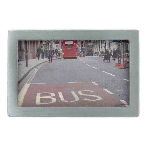 Autobús del autobús de dos pisos en Londres Hebilla Cinturón Rectangular