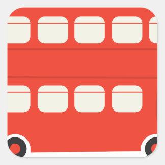 Autobús del autobús de dos pisos pegatina cuadrada