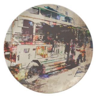 Autobús del autobús de dos pisos platos para fiestas