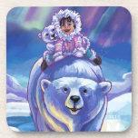 Autobús del oso polar posavasos de bebidas