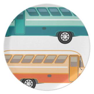 Autobús del vintage plato de cena