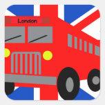 Autobús en London Pegatina Cuadrada