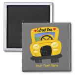 Autobús escolar 2 (personalizable) imán cuadrado