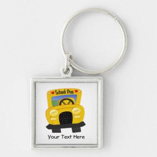 Autobús escolar 2 (personalizable) llavero cuadrado plateado