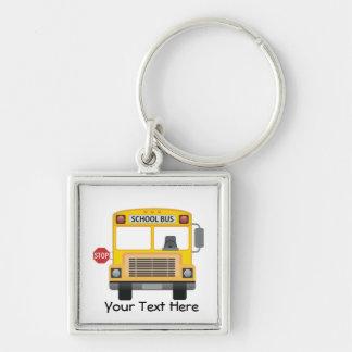Autobús escolar adaptable llavero cuadrado plateado