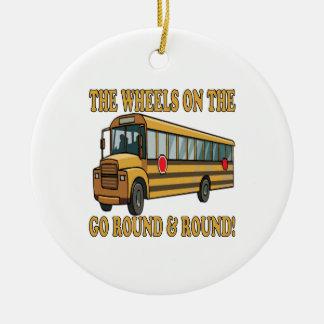 Autobús escolar adorno navideño redondo de cerámica