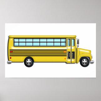 Autobús escolar amarillo estupendo poster
