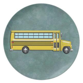 Autobús escolar amarillo estupendo platos de comidas