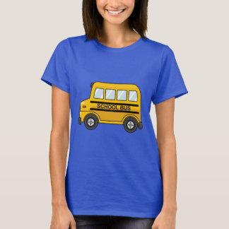 Autobús escolar amarillo y negro del dibujo playera