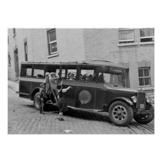 Autobús escolar antiguo, los años 30 impresiones