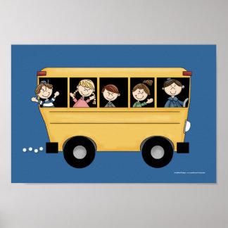 Autobús escolar con la impresión D2 del poster del