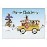 Autobús escolar de las Felices Navidad Felicitación
