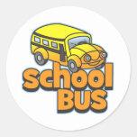 Autobús escolar de los niños pegatinas redondas