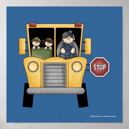 Autobús escolar de Whimiscal con los niños y la im Póster