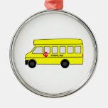 Autobús escolar del dibujo animado ornamentos de reyes