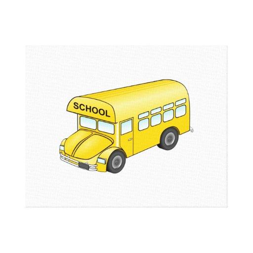 Autobús escolar del dibujo animado impresión en lienzo estirada