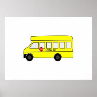 Autobús escolar del dibujo animado poster