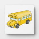 Autobús escolar del dibujo animado placas de madera