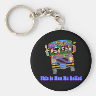 Autobús escolar del Hippie Llavero Redondo Tipo Pin