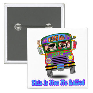 Autobús escolar del Hippie Pin Cuadrado