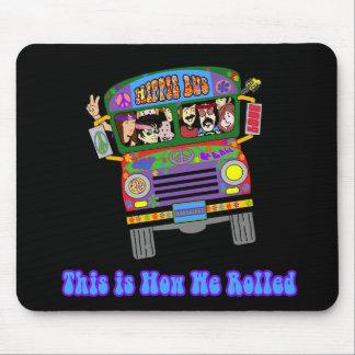 Autobús escolar del Hippie Tapetes De Raton