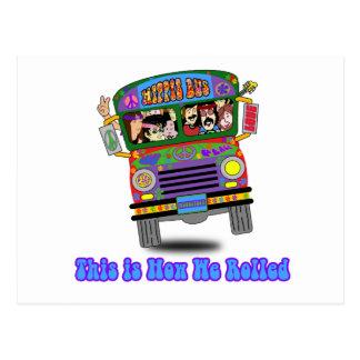 Autobús escolar del Hippie Tarjeta Postal
